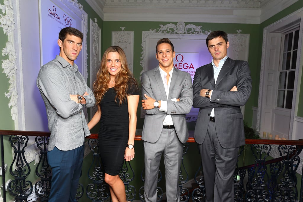 Michael Phelps, Natalie Coughlin, Chad Le Clos, and Alexander Popov posed together at the Spotlight on Swimming party in London.