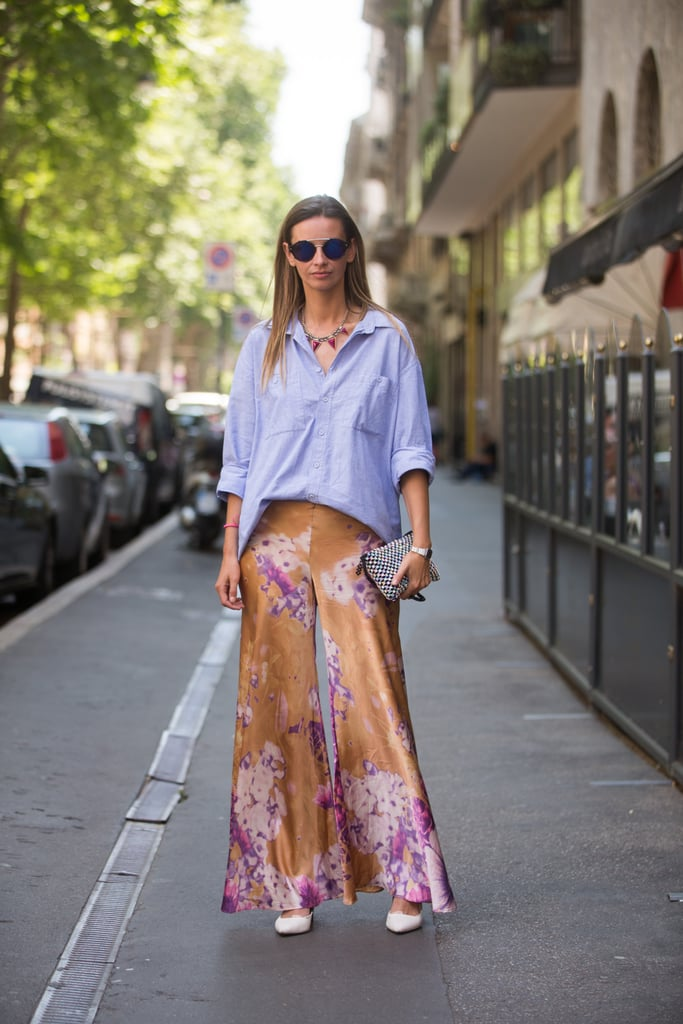 A menswear-inspired button-down helped dress down a fabulous pair of billowing pants.