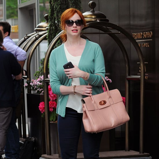 Christina Hendricks Orange Pumps