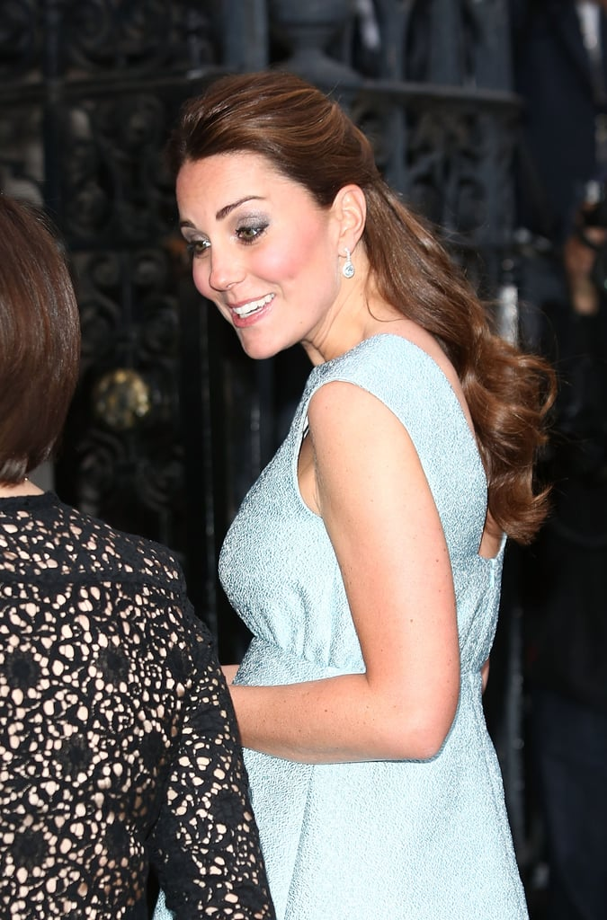 The Duchess of Cambridge shows off the softly up-swept sides of her style.