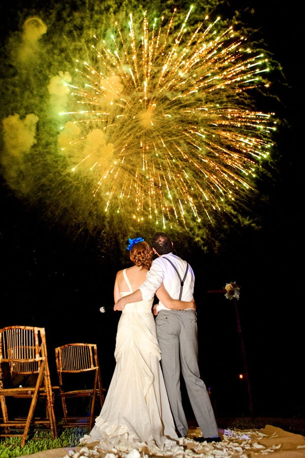 Bright yellow fireworks exploded at this wedding in Sayulita, Mexico.