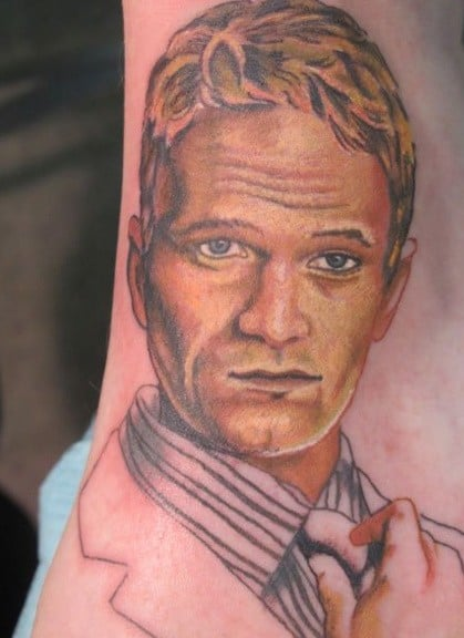 Neil Patrick Harris tweeted a picture of a tattoo of his face! Twitter User: ActuallyNPH
