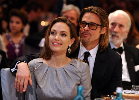 Angelina Jolie and Brad Pitt attended the Cinema For Peace gala in Berlin, where she was honored for her ongoing efforts to stop genocide and war, in February 2012.