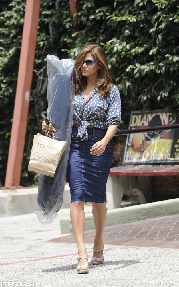 Eva Mendes walked to her car after shopping at a foam and fabric store in LA.
