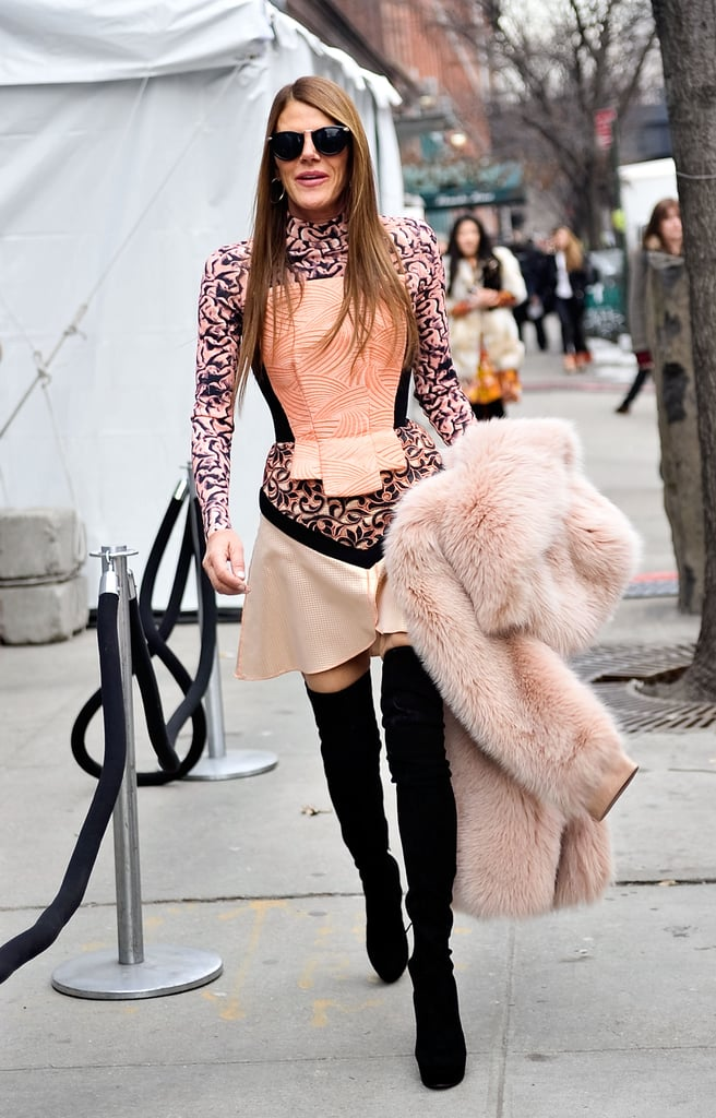 Anna Dello Russo got decked out in peachy hues and abstract prints.