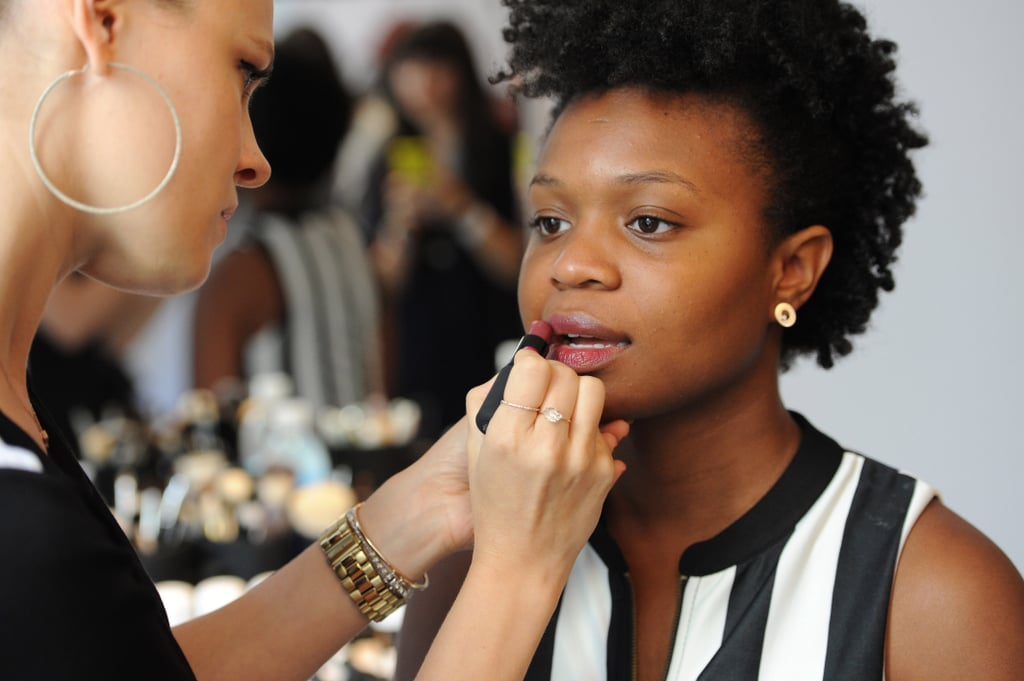 """With dark lipstick it's hard to make sure they go on evenly so you want to make sure you do a scrub or lip balm first."" The next step to mastering the dark lip trend is selecting the right shade.  If you have a full pout, feel free to reach for the dark Bordeaux and wine shades like ck one color Shine Lipstick in Naughty ($16). However, McAdams suggests using a lighter plum or berry shade for smaller lips and do a sheer, glossy finish."