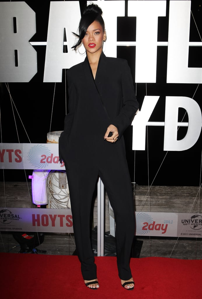 Rihanna's Stella McCartney jumpsuit feels just like a relaxed tuxedo, making it perfect for evenings.  4995855