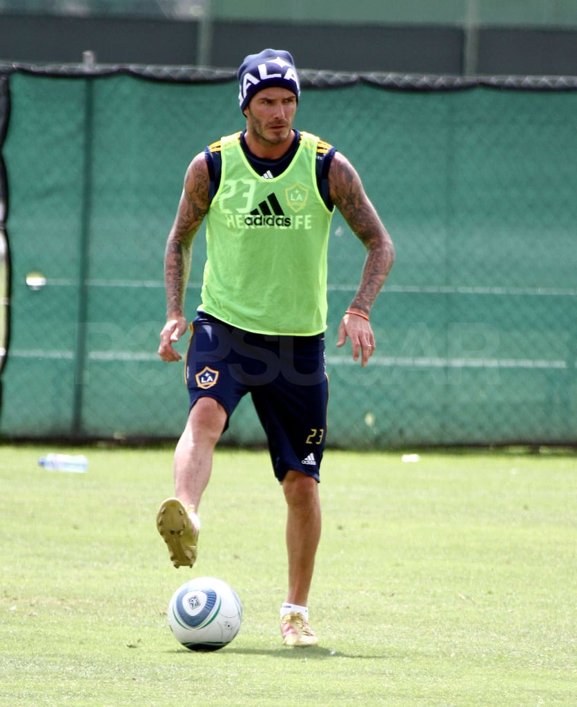 David Beckham fit in some training.