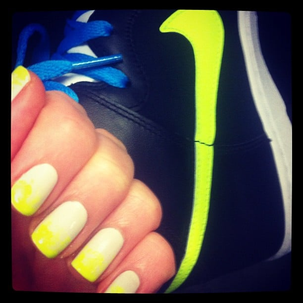 Pumped up kicks! Alison complemented her neon Nikes with some seriously special ombré nails.