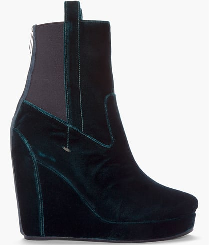 Vanessa Bruno's Emerald Green Velvet Wedge Boots ($735, originally $1,050) will make a stunning accompaniment to all of your holiday ensembles.