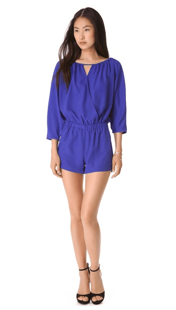 What a color! This Blaque Label cobalt long-sleeved romper ($97) will definitely help you stand out. Pair with flats for day and heels at night.