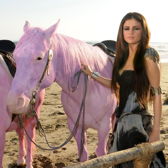Pictures of Selena Gomez and Pink Horses on a Video Shoot