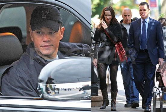 Photos of Matt Damon and Emily Blunt Filming in NYC, Video of Matt Damon on Entourage
