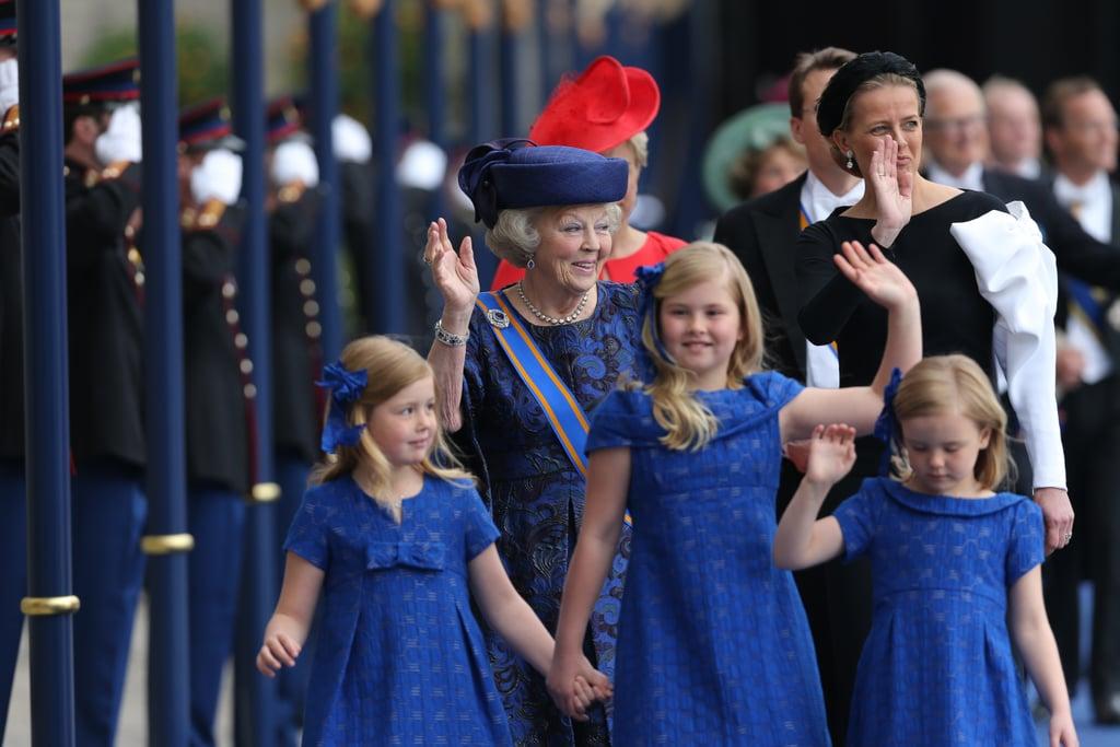 Dutch Princesses Catharina-Amalia, Alexia, and Ariane waved as they left the inauguration ceremony.