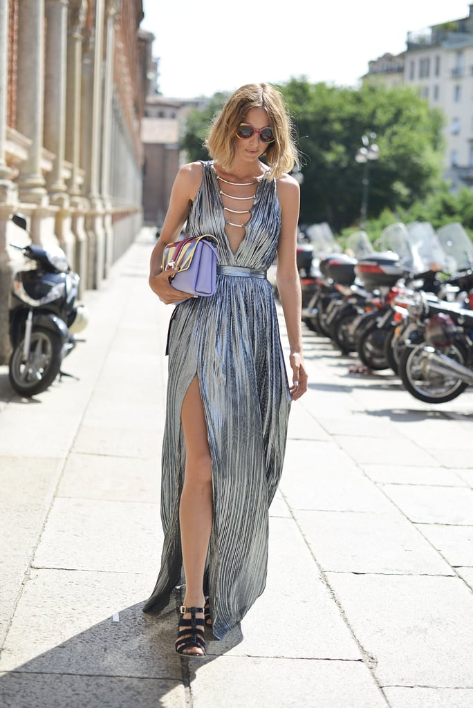 Candela Novembre proved that evening dresses work for day too when she posed in a Philipp Plein dress and Paula Cademartori bag.