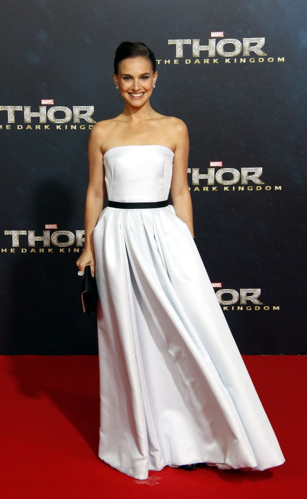 Natalie Portman's Dior Haute Couture organza evening gown at the Berlin premiere of Thor: The Dark World was both classic and on-trend —thanks to an  of-the-moment black-and-white color palette.