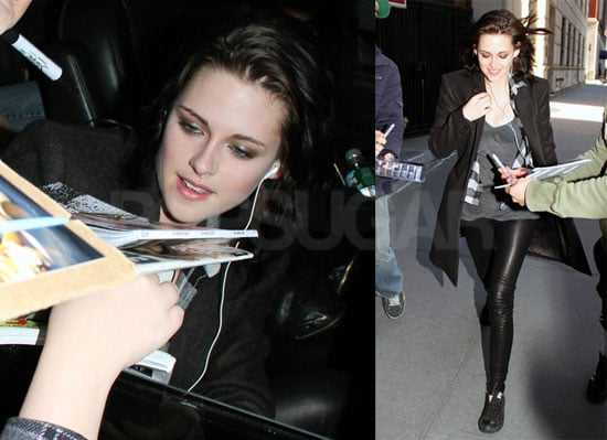 Photos of Kristen Stewart Wearing Black as She Arrives at the NYC Studios of Live With Regis and Kelly