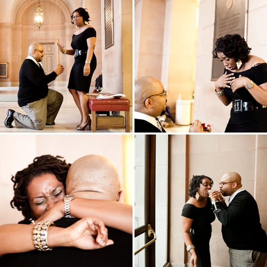 This bride-to-be literally fell down in her chair when her boyfriend asked for her hand at San Francisco City Hall. Her emotional response is priceless! Source: The Wedding Chicks