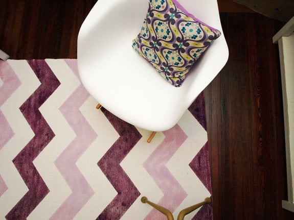 Perk up your patio or room with a multi-hued Chevron Rug. Source: Little Green Notebook