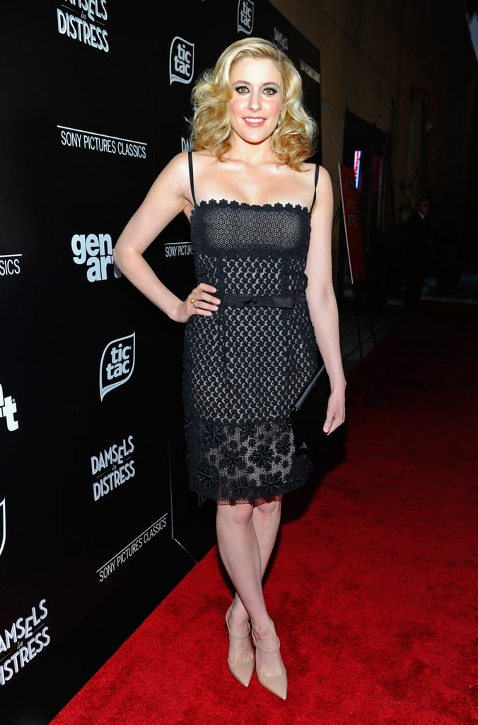 At the LA premiere of Damsels in Distress in March 2012, the actress went va-va-voom in a black lace dress with nude underlay and a sweet bow belt.  6855789