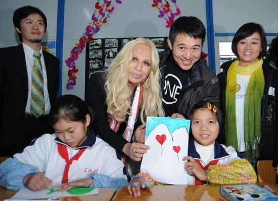 Donatella Versace And Jet Li Visits Earthquake Zone In China