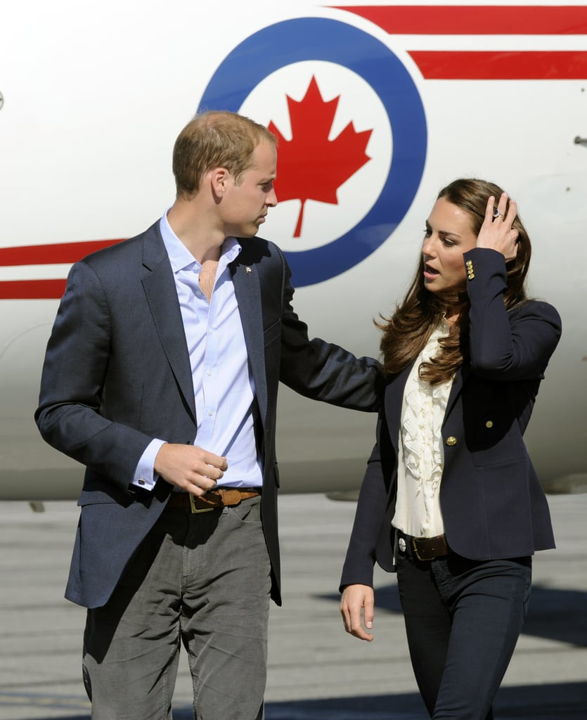 Prince William and Kate Middleton wear matching blue blazers in Canada.