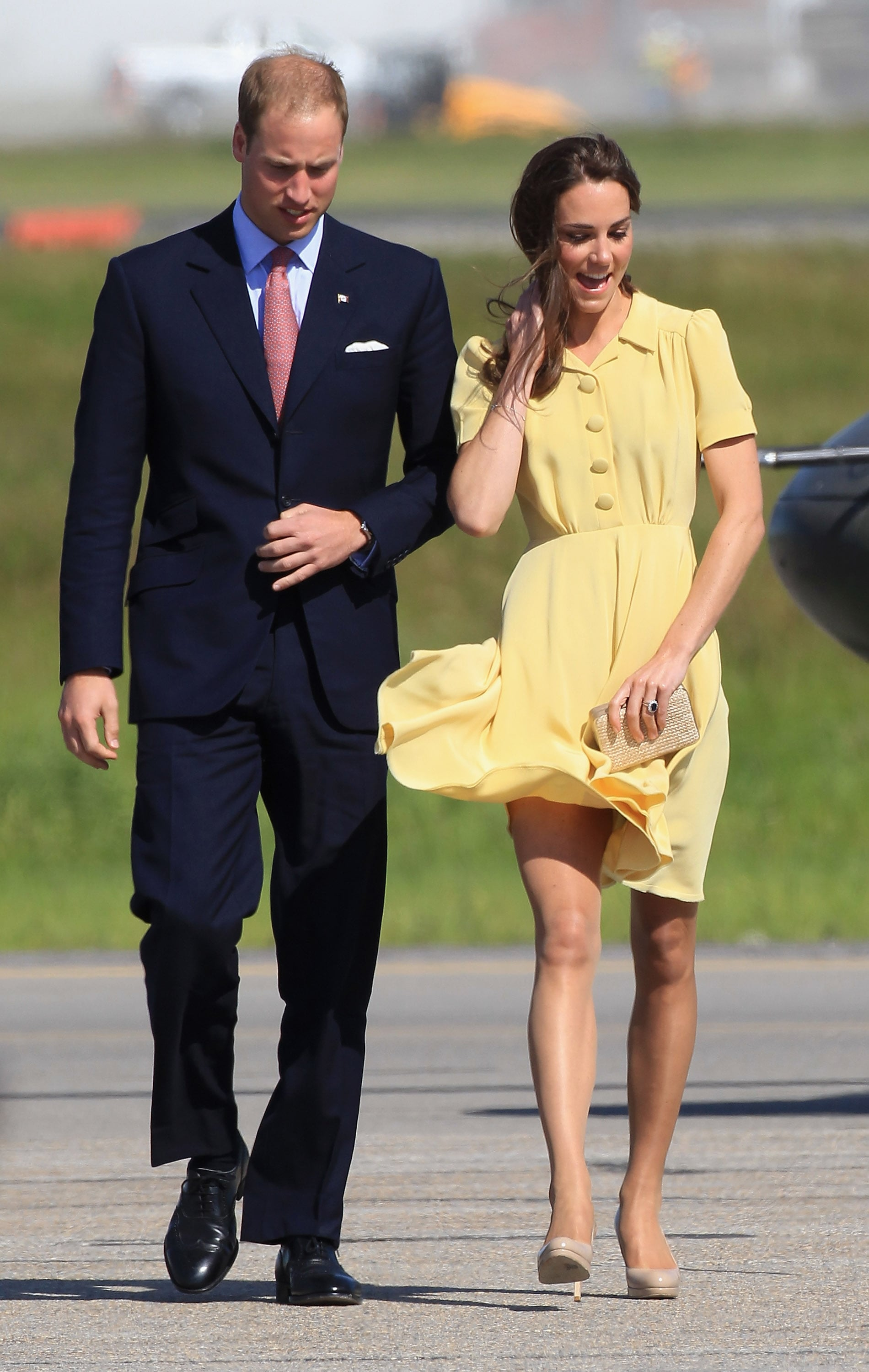 The wind almost caused a wardrobe malfunction for Kate!