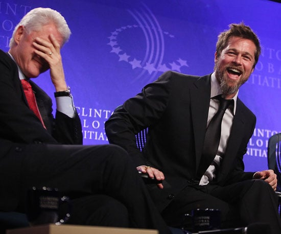 Photo Slide of Brad Pitt and President Clinton Together at the Clinton Global Initiative