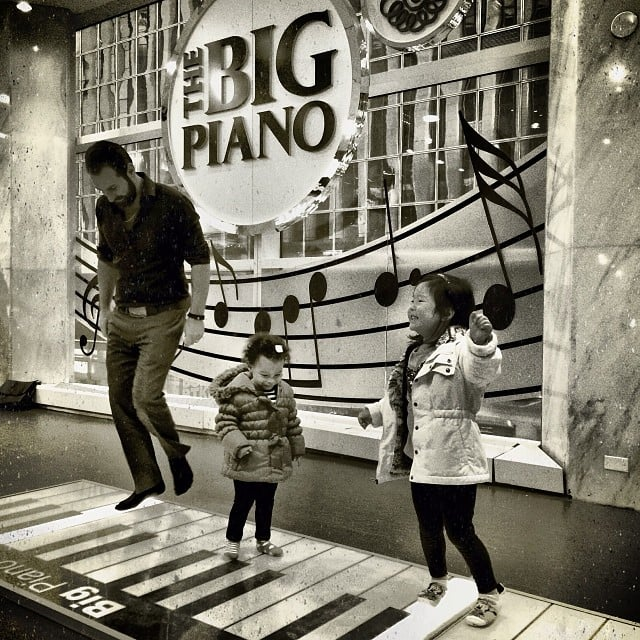 Josh Kelley took his kids, Naleigh and Adalaide, to FAO Schwarz for some play on The Big Piano. Source: Instagram user joshbkelley