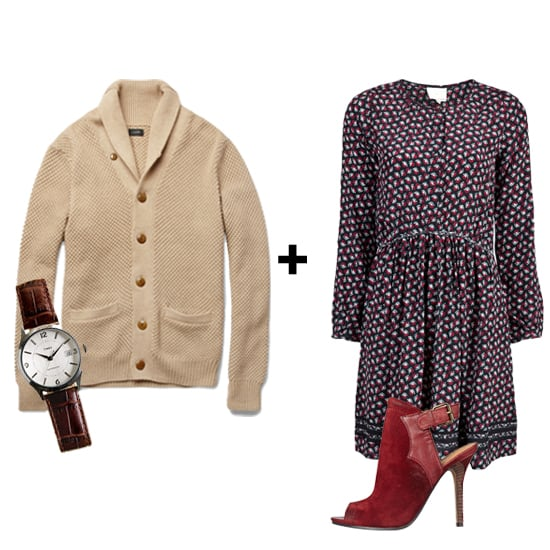 We love staying warm with a boyfriend sweater — so why not get one your man can actually wear? Give this men's collared shawl cardigan a feminine update by pairing it with a dark floral dress and seasonal, suede booties.  Get the look:  J. Crew Shawl Collar Cardigan ($110) Timex 1600 Watch ($195) Band of Outsiders Rose Dress ($465) Nine West Sweetbriar ($179)
