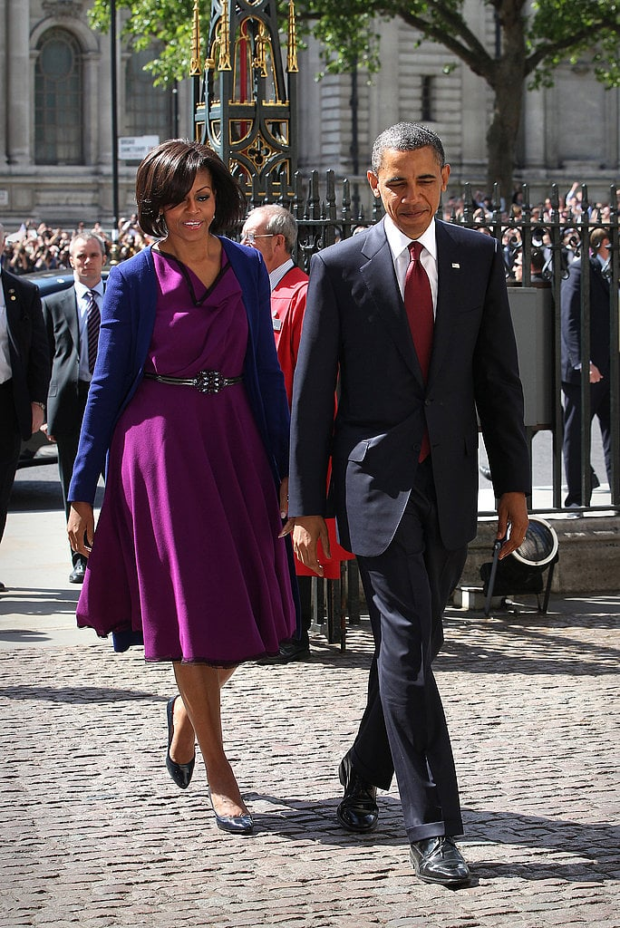 The FLOTUS has her finger on the pulse of new, edgy designers. Here, Michelle paired a Roksanda Ilincic dress with a Narciso Rodriguez coat.