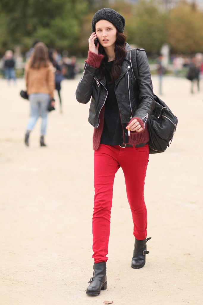 A red statement jean provides just enough color to take it easy on the styling elsewhere.