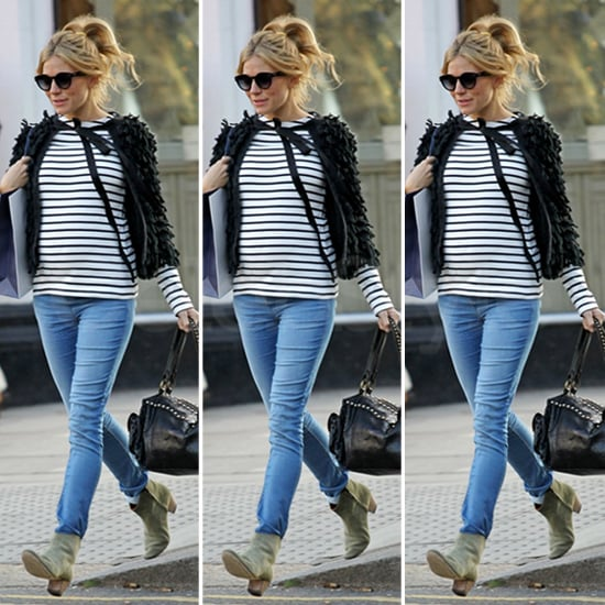 Sienna Miller Stripes and Shaggy Jacket
