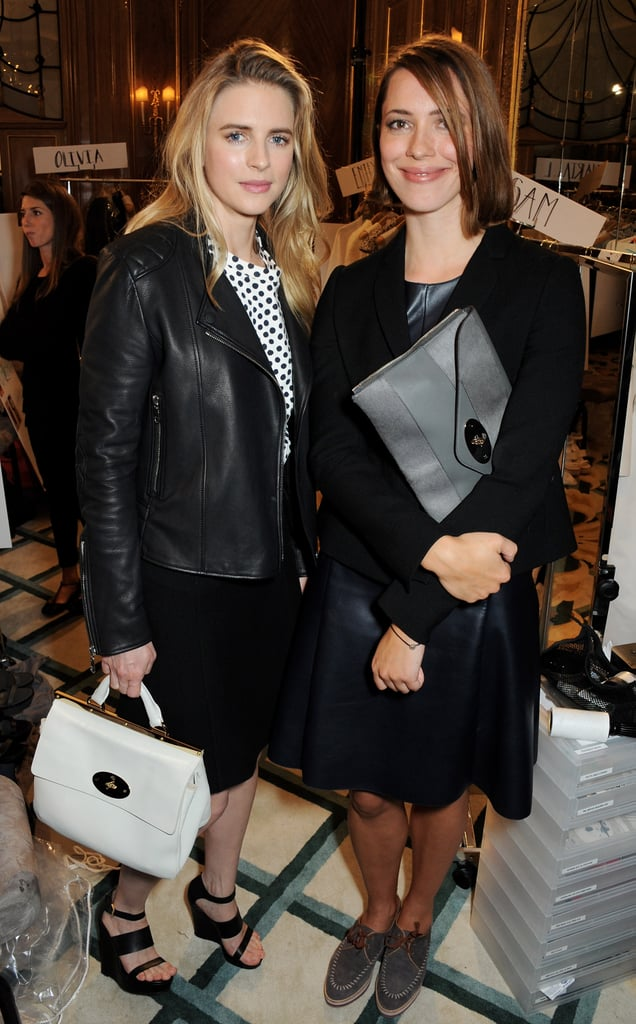 Brit Marling and Rebecca Hall looked chic as ever while sitting front row at Mulberry's Spring show.