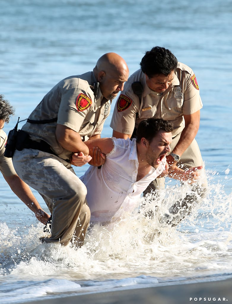 Jake Johnson filmed a dramatic scene in the ocean.