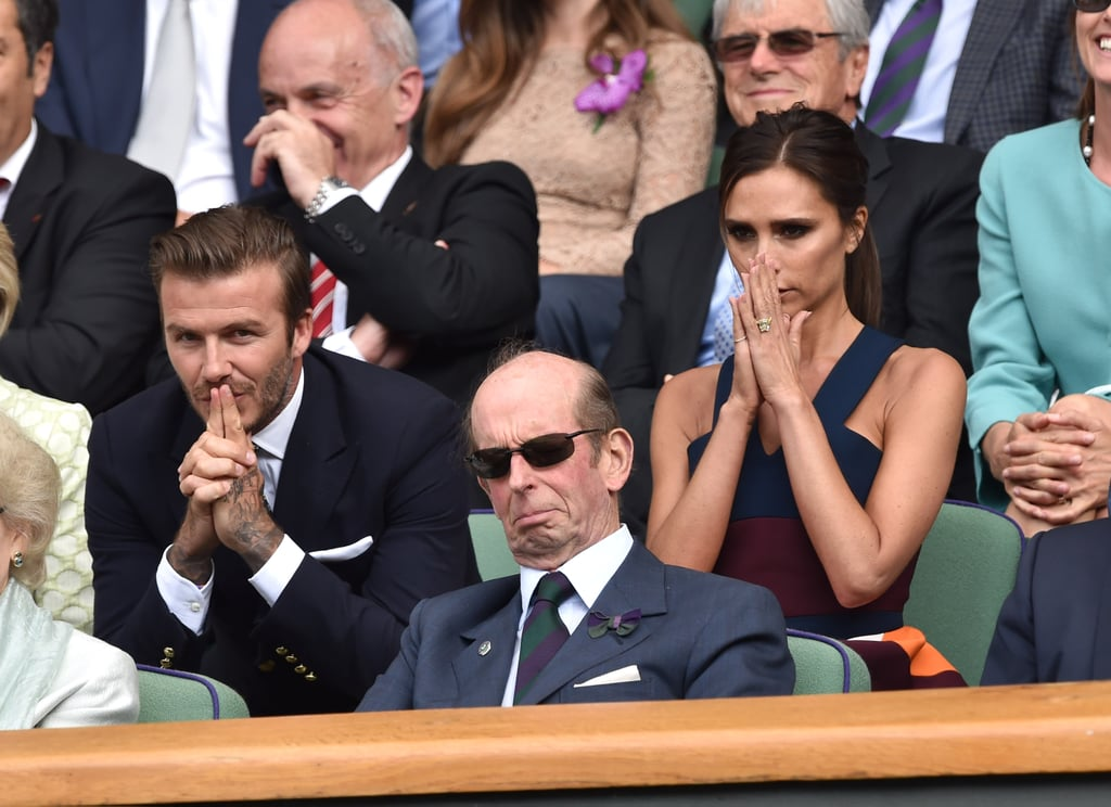 David and Victoria were enthralled by the match.
