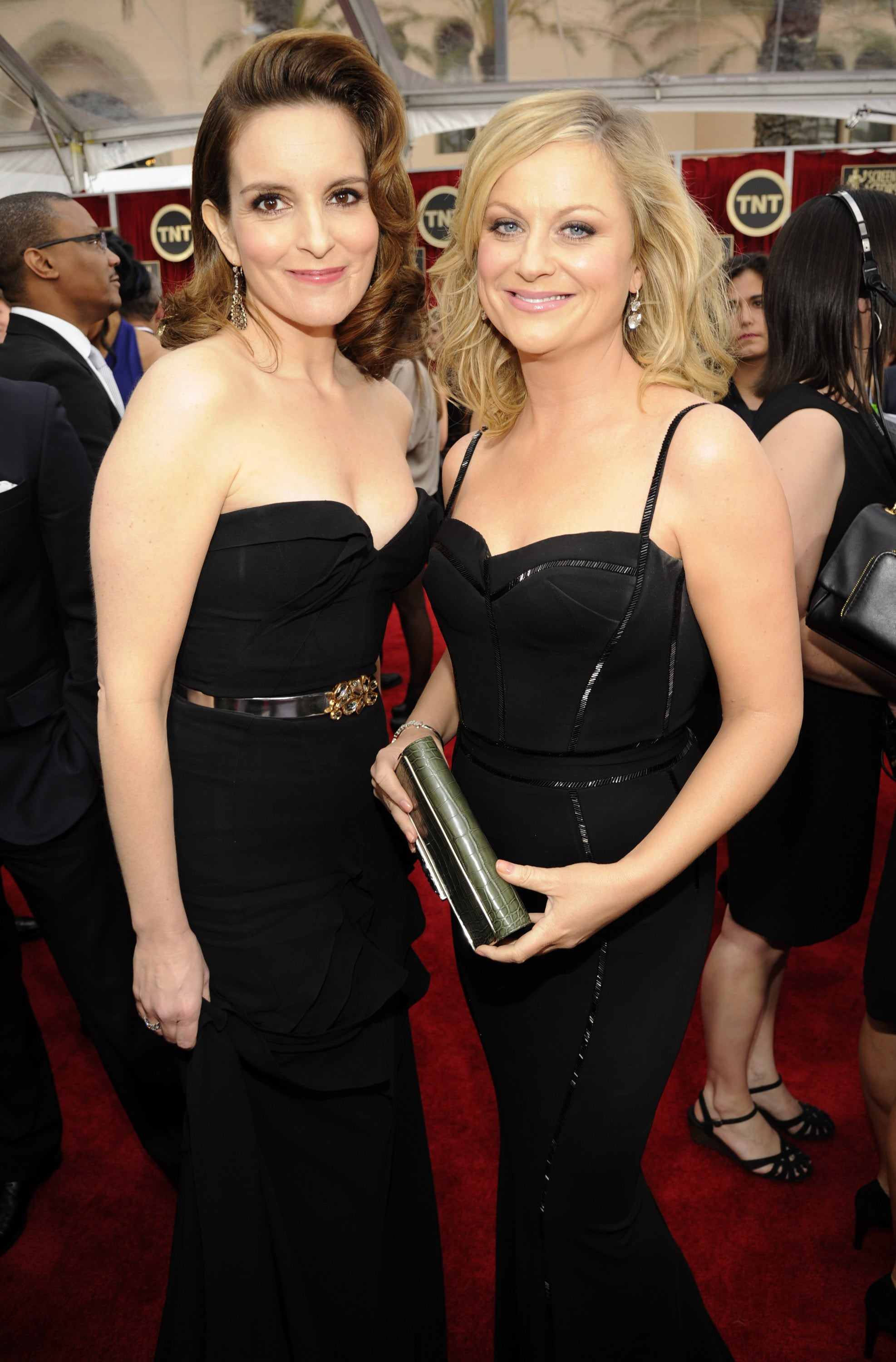 Following their Golden Globes hosting gig, Tina Fey and Amy Poehler walked the SAG Awards red carpet together in 2013.