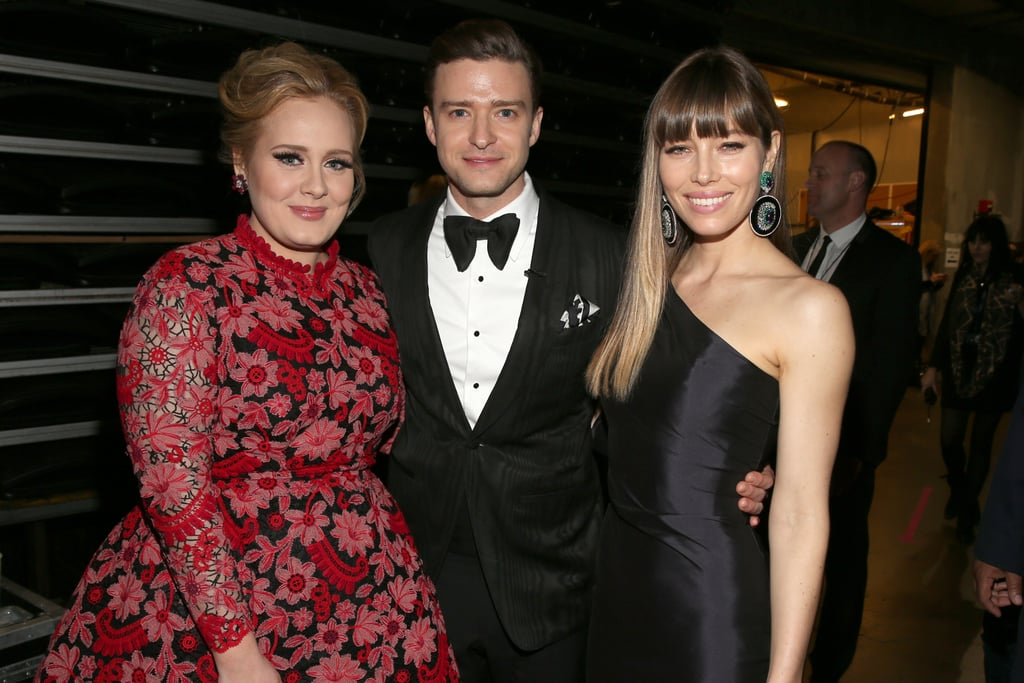 Justin was flanked by two incredible ladies at the 2013 Grammy Awards — superstar singer Adele on his right, wife Jessica Biel on the left.