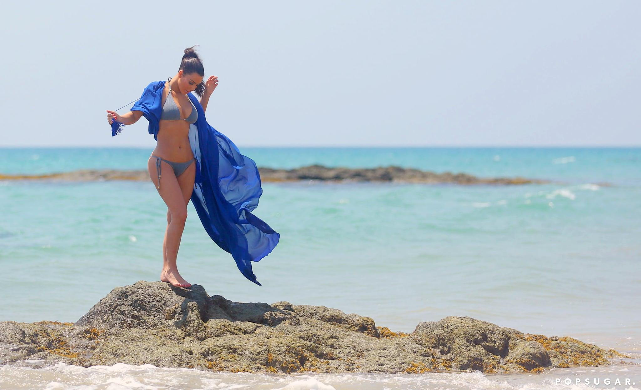 Kim Kardashian chose a picturesque setting for her bikini-body reveal in Thailand.