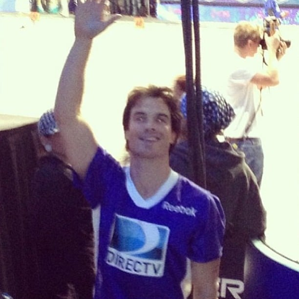 Nina Dobrev snapped a photo of Ian Somerhalder during a pre-Super Bowl celebrity football game in New Orleans. Source: Instagram user ninadobrevpriv