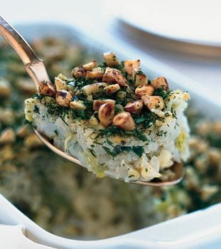 Passover Side: Cauliflower-Leek Kugel With Almond-Herb Crust