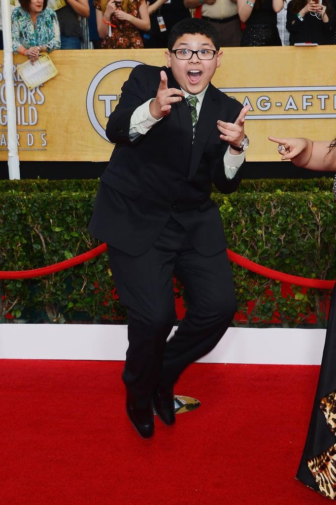 Rico Rodriguez did his favorite jumping pose.