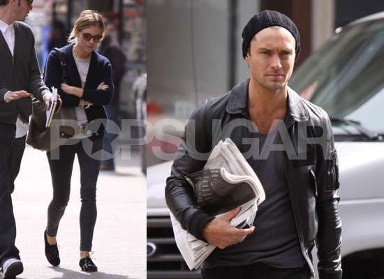 Photos of Jude Law and Sienna Miller Having Breakfast Together in NYC as Jude Confirms Sherlock Holmes Sequel and Contagion Role
