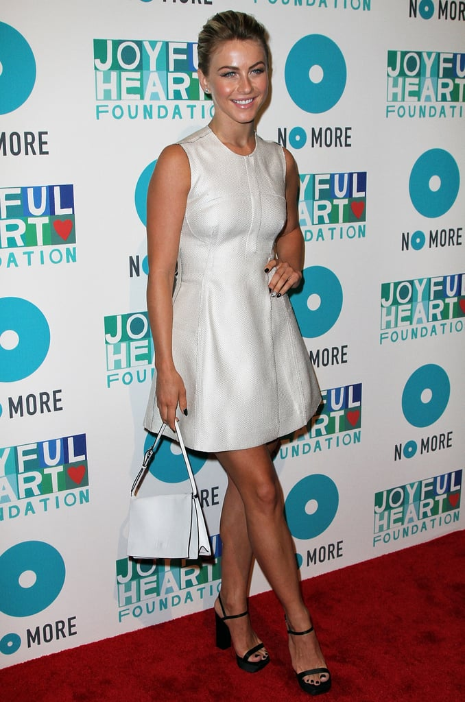 Julianne Hough embraced the Summer dress code in a little white dress and platforms at the Joyful Heart Foundation Gala in NYC.