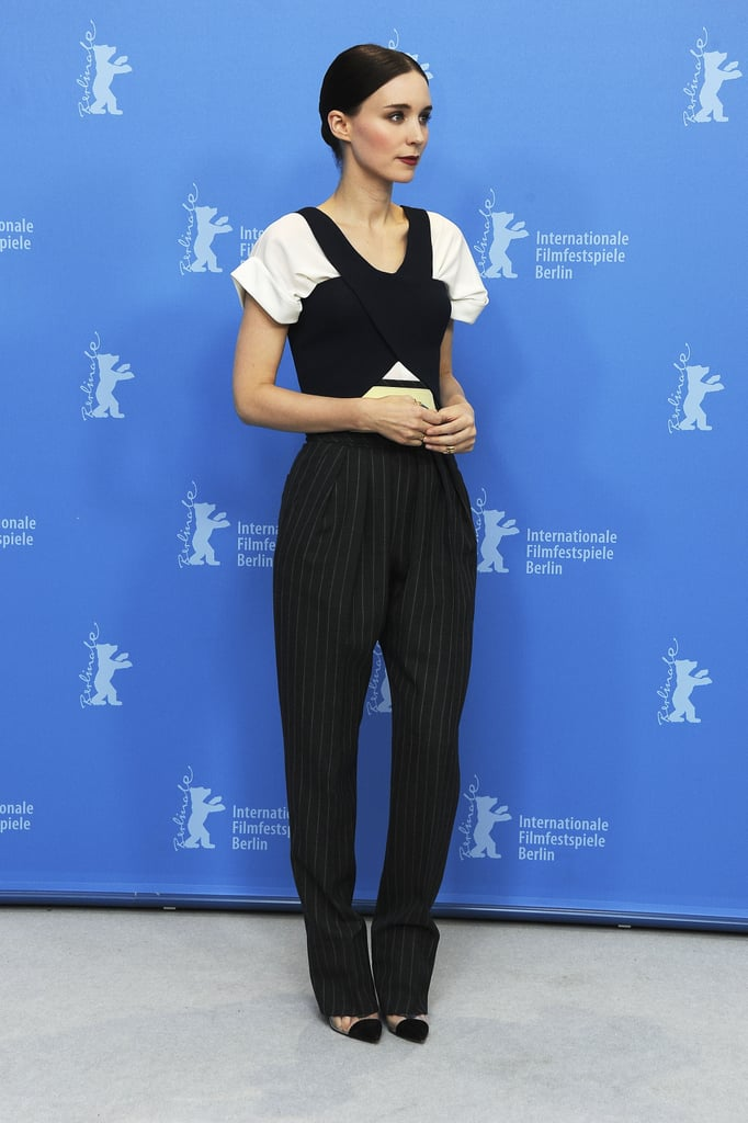 Rooney Mara showed off her edgier aesthetic in Balenciaga Resort 2013 at the Side Effects photocall in Berlin.