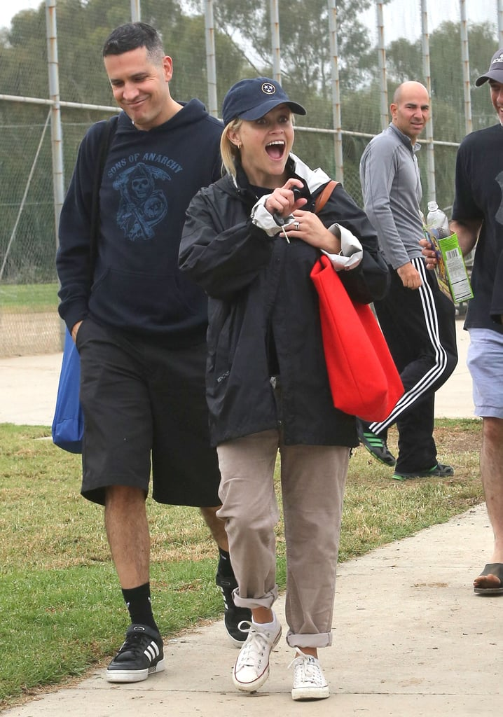 Reese Witherspoon looked excited at son Deacon Phillippe's soccer game with Jim Toth in October 2012.