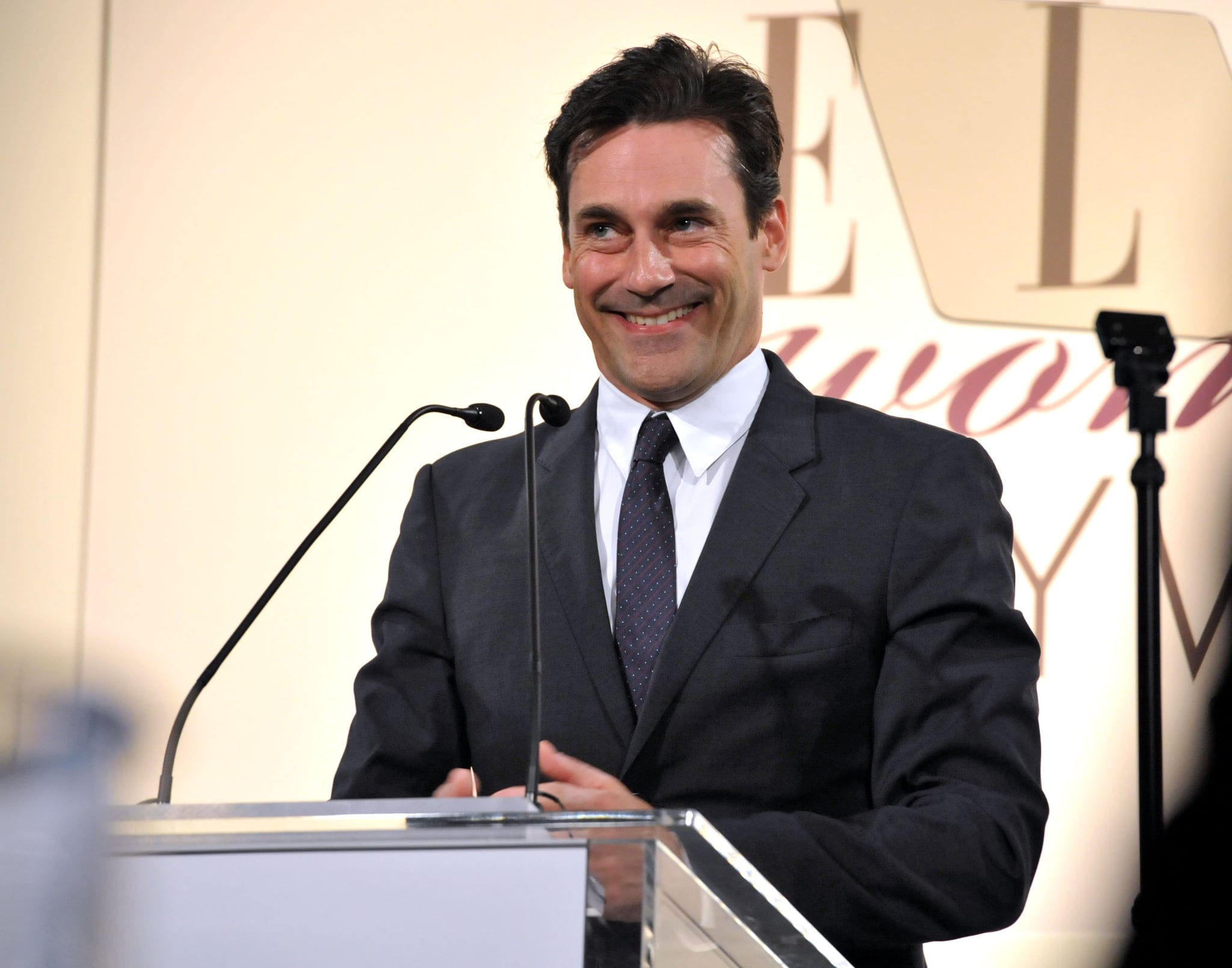 Jon Hamm made a speech at Elle's Women in Hollywood tribute.