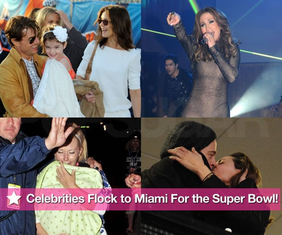 Photos of Celebrities Including Angelina Jolie, Brad Pitt, Tom Cruise, Taylor Lautner at the 2010 Super Bowl