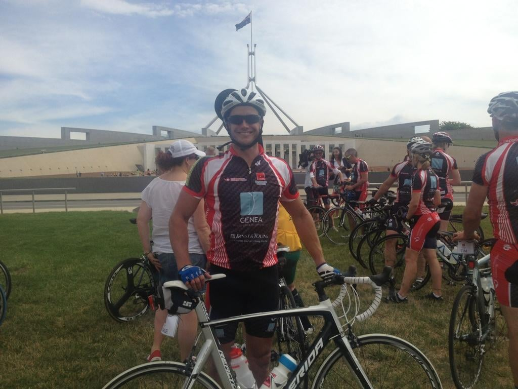 Luke Jacobz rode for the Muscular Dystrophy Foundation with fellow cyclists. Source: Twitter user lukejacobz