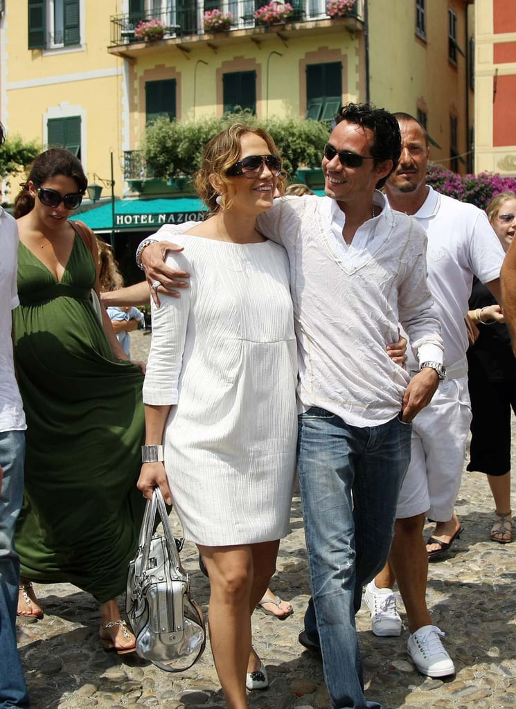 Jennifer Lopez and Marc Anthony took a loving walk during an Italian vacation in July 2008.